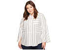 TWO by Vince Camuto Plus Size Bell Sleeve Yarn-Dye Stripe Collared Shirt