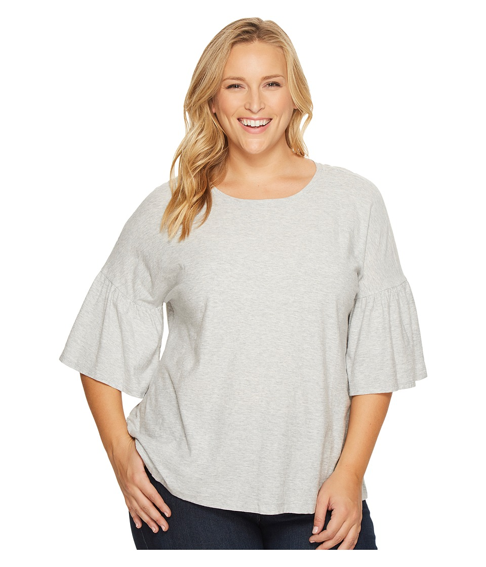 TWO by Vince Camuto Plus Size Relaxed Bell Sleeve Cotton Slub Tee (Grey Heather) Women