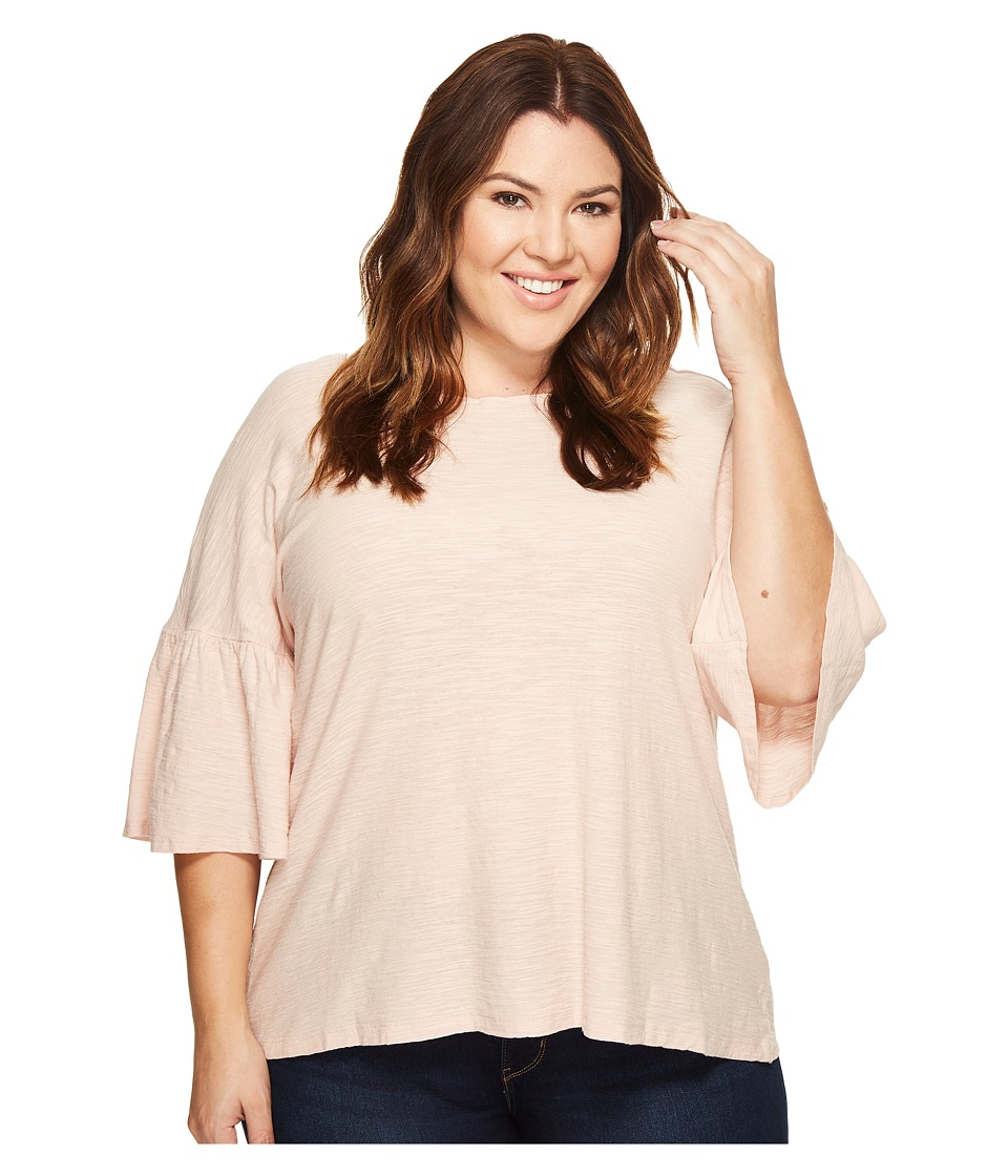 TWO by Vince Camuto Plus Size Relaxed Bell Sleeve Cotton Slub Tee (Dusty Pink) Women