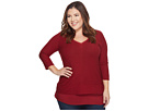 TWO by Vince Camuto Plus Size Double Layer Mix Media V-Neck Top