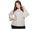 TWO by Vince Camuto Plus Size Ruched Bell Sleeve Nova Thin Stripe Top