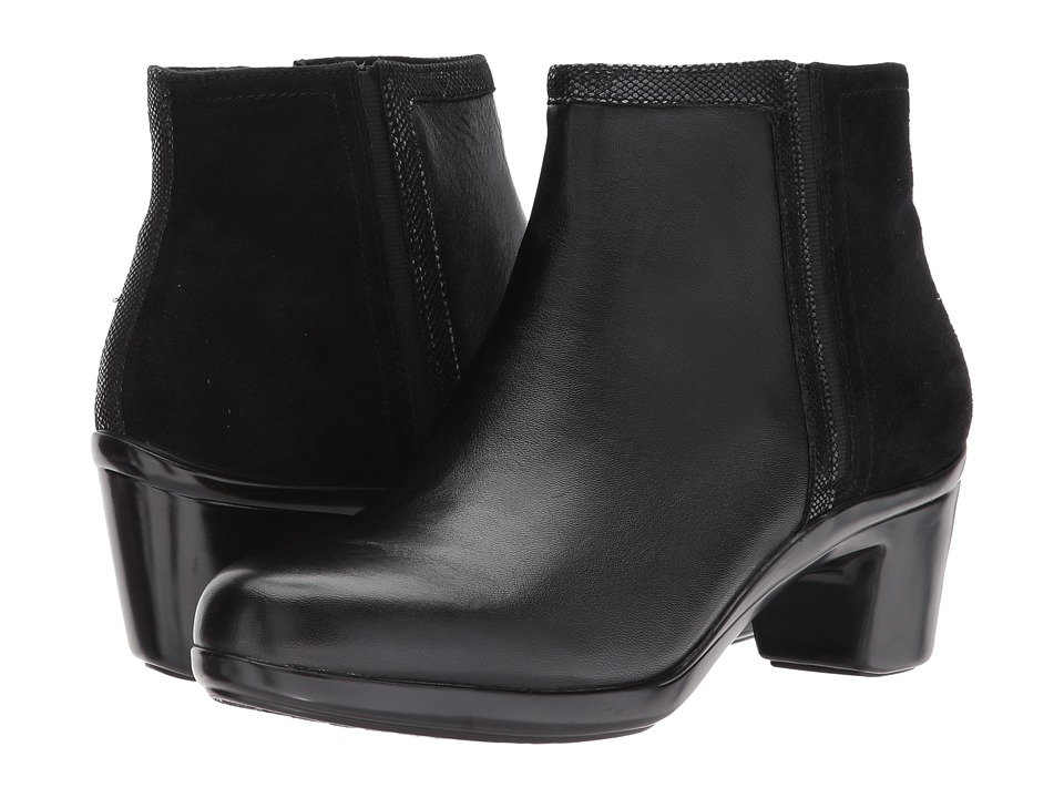 Aravon Lexee Binded Bootie (Black Leather) Women's  Boots
