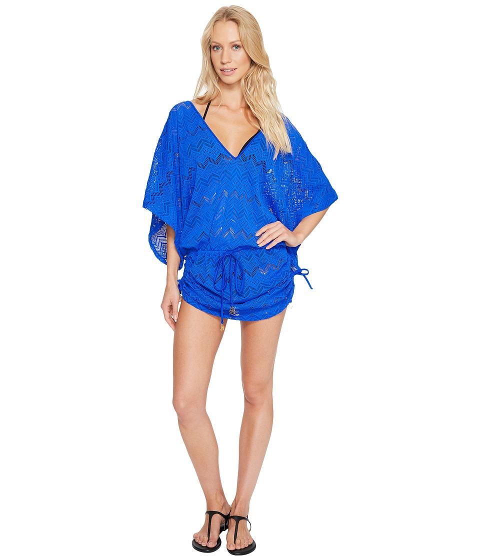 Luli Fama Tropical Princess Cabana V-Neck Dress Cover-Up (Electric Blue) Women