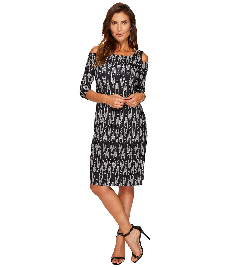 Tribal Travel Pack and Go Cold Shoulder Printed Dress (Black) Women
