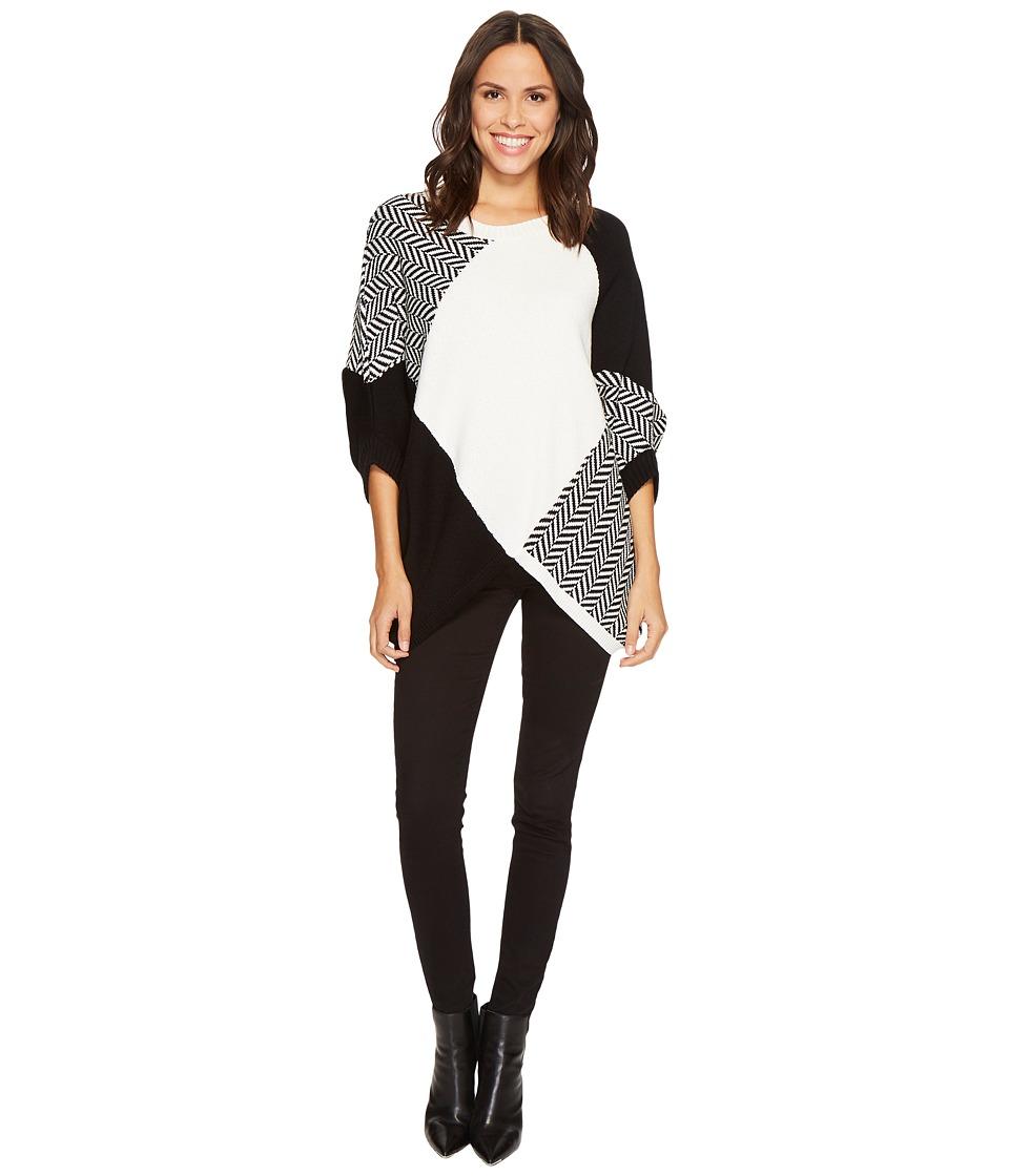 TRIBAL Crew Neck Cape Sweater (Black) Women's Sweater