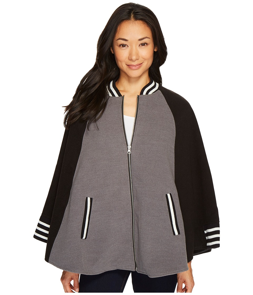 Steve Madden Dragon Embroidery Bomber Cape (Grey) Women's...