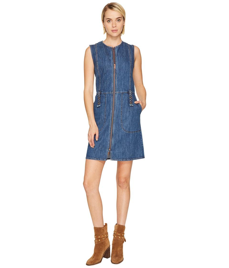 See by Chloe Signature Denim Zip-Up Dress (Washed Indigo) Women