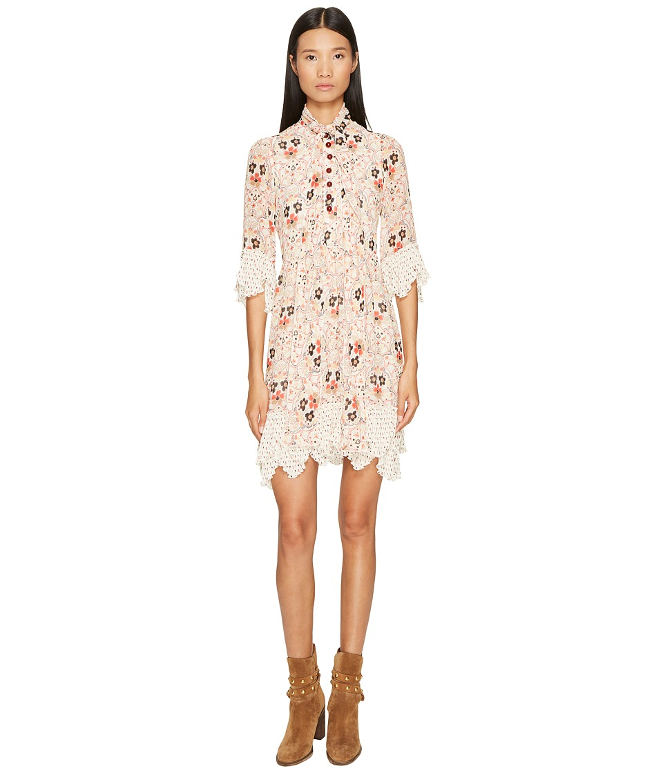 See by Chloe Georgette Dress with Neck Tie (Winter White) Women