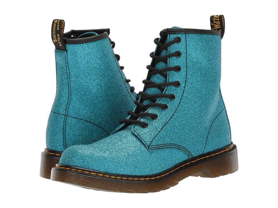 Dr. Martens Kid's Collection Delaney Glitter (Big Kid) (Laser Lake Blue Glitter PU) Girls Shoes