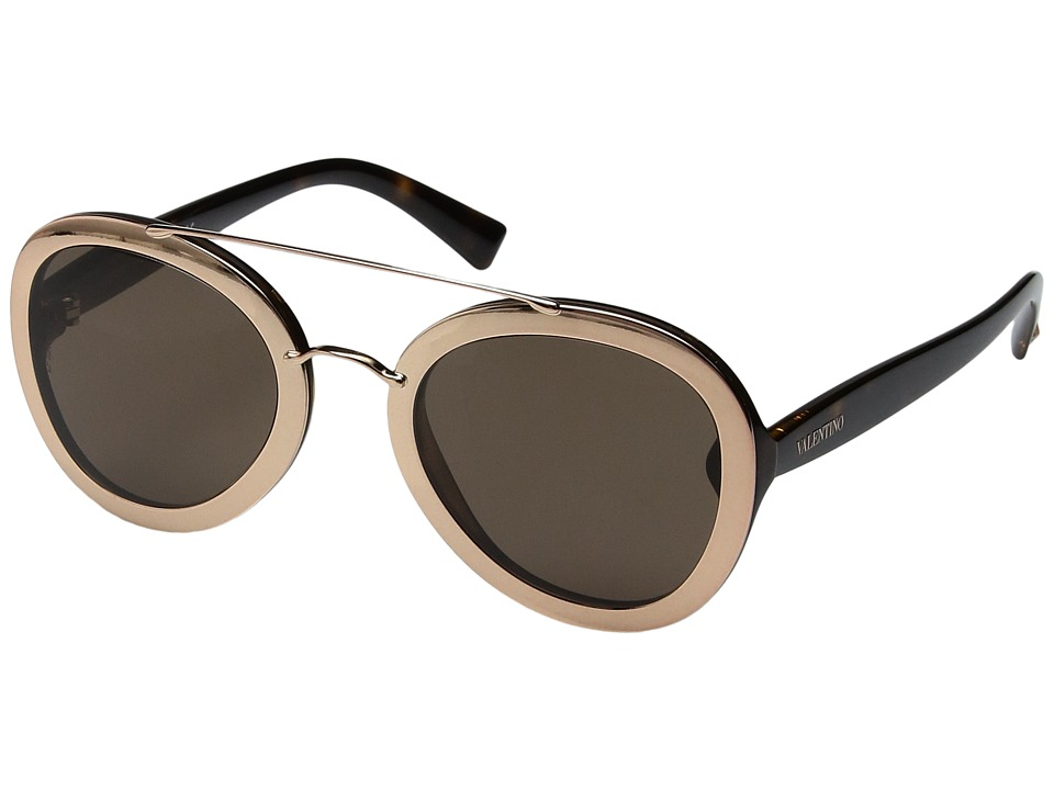 Valentino - VA 4014 (Rose Gold/Dark Havana/Brown) Fashion Sunglasses