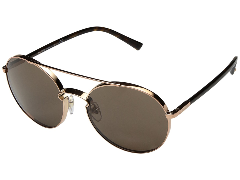 Valentino - VA 2002 (Shiny Rose Gold/Brown) Fashion Sunglasses