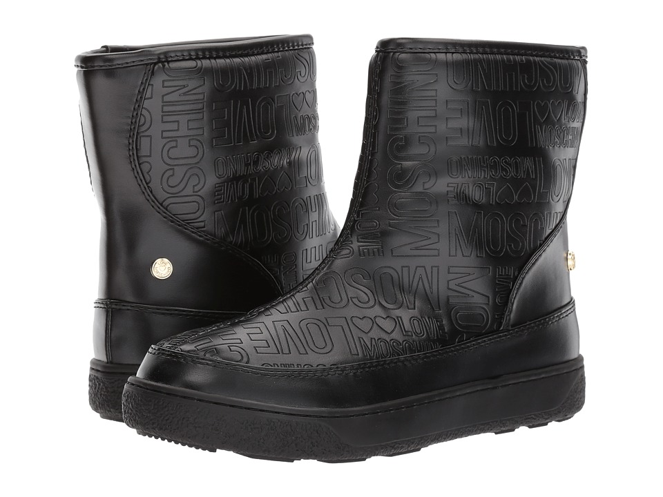 LOVE Moschino - Embossed Logo Winter Boot (Black) Womens Boots