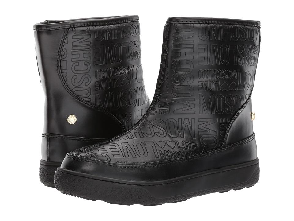 LOVE Moschino Embossed Logo Winter Boot (Black) Women
