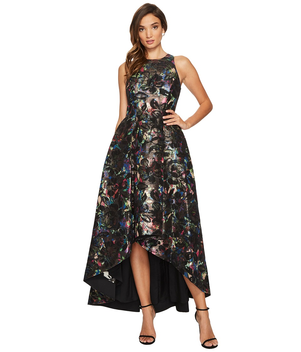 Aidan Mattox Printed Jacquard High-Low Fit and Flare Gown (Black Multi) Women