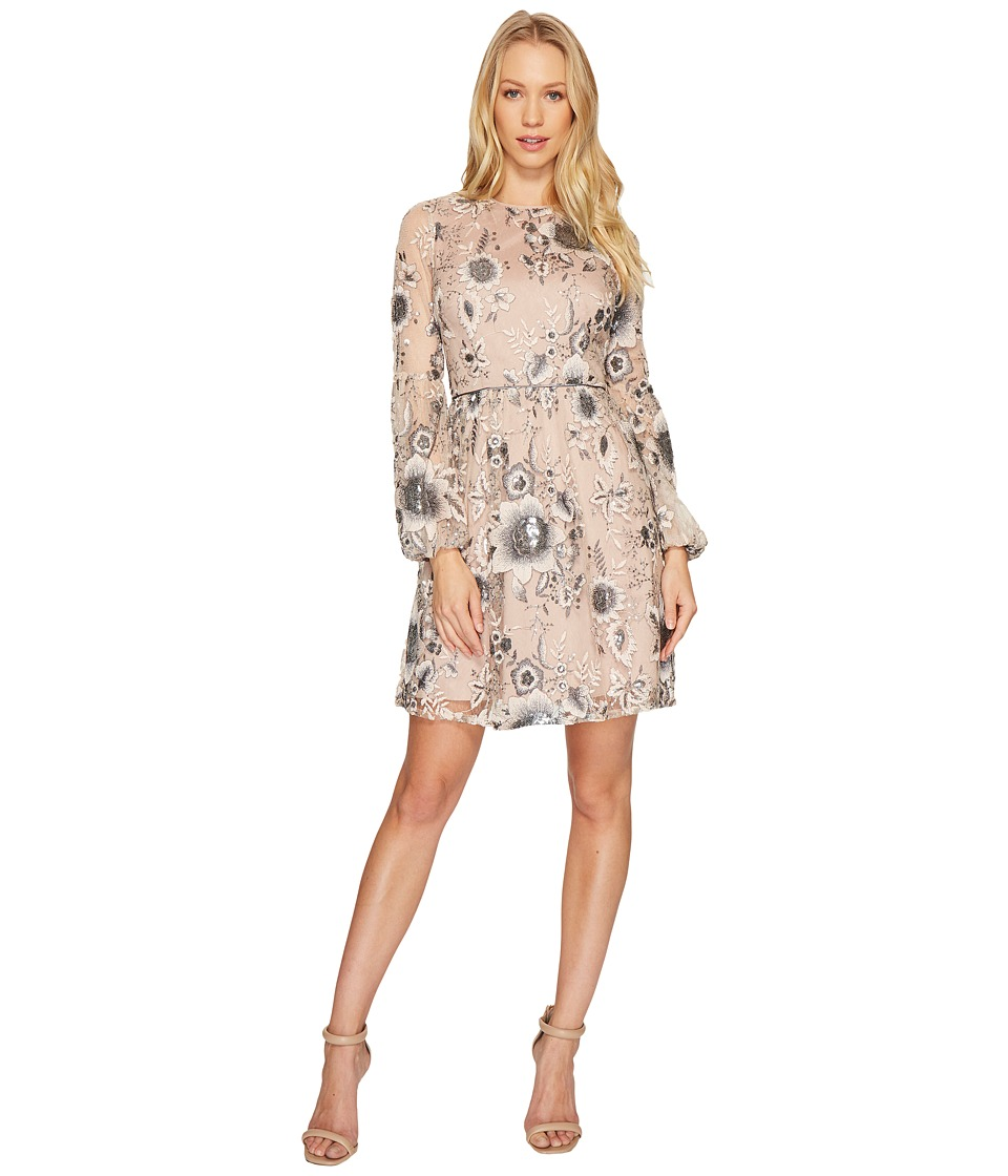 Aidan Mattox A-Line Embroidered Sequin Cocktail Dress with Bishop Sleeves (Champagne/Silver) Women