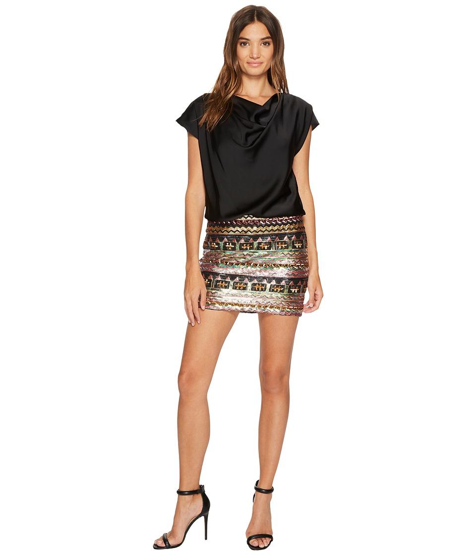 Aidan Mattox Charmeuse Cowl Blouson Bodice and Multicolor Sequin Skirt (Black Multi) Women