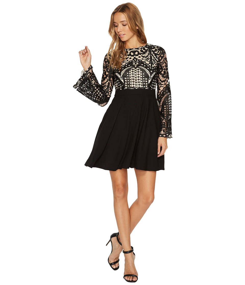 Aidan Mattox - Long Sleeve A-Line Lace and Crepe Cocktail Dress