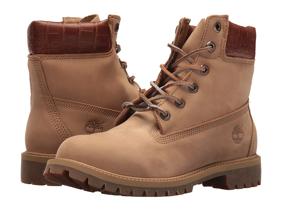 Timberland Kids 6 Premium Waterproof Boot (Big Kid) (Iced Coffee Waterbuck/Exotic Collar) Kids Shoes