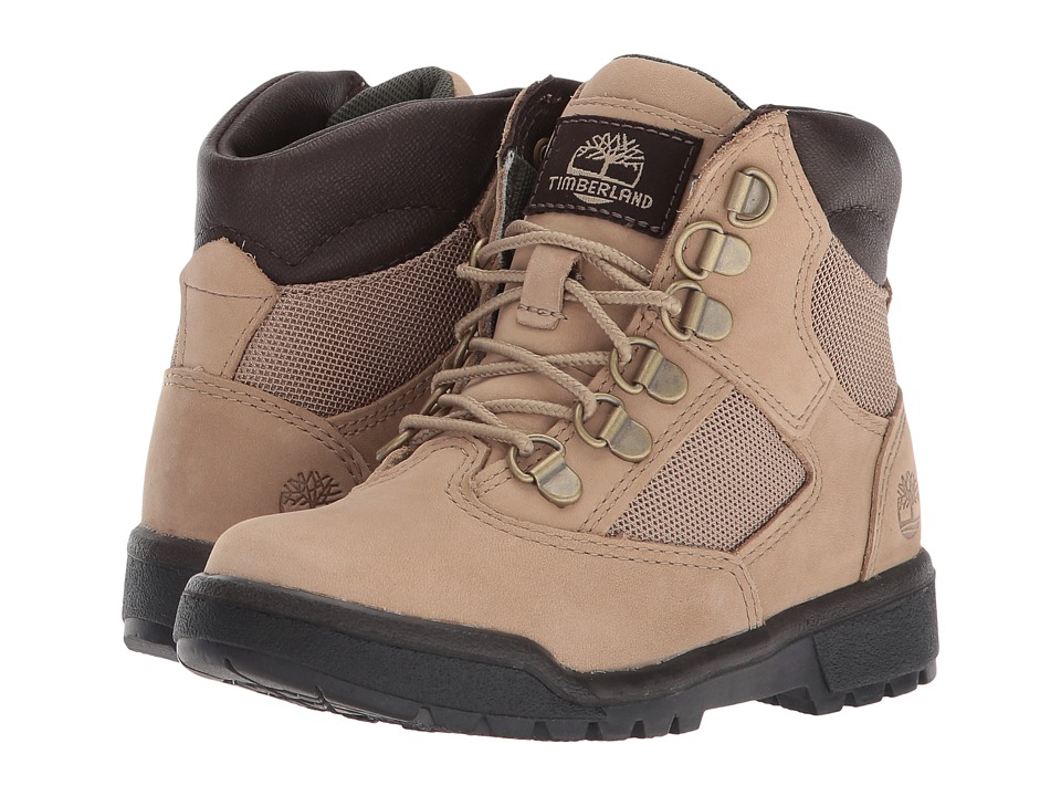 Timberland Kids 6'' Leather/Fabric Field Boot (Little Kid) (Beige) Kids Shoes