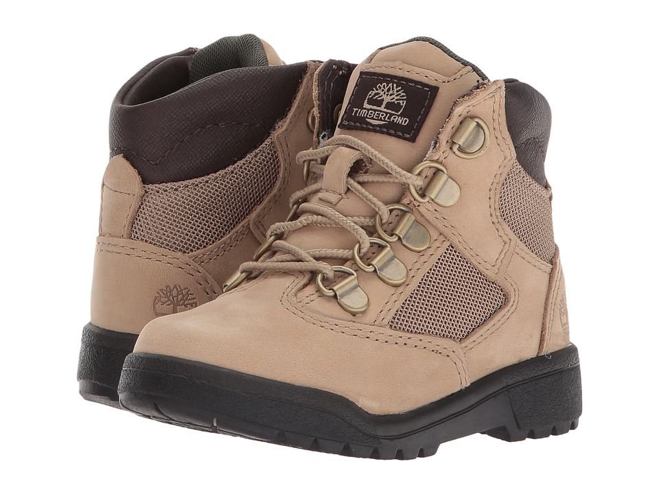 Timberland Kids 6'' Leather/Fabric Field Boot (Toddler/Little Kid) (Beige) Kids Shoes