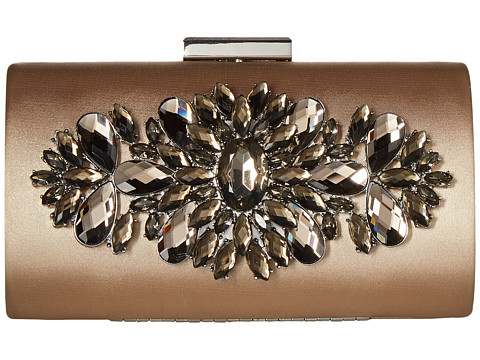 LOVE Moschino Jewelled Satin Evening Bag - Brown