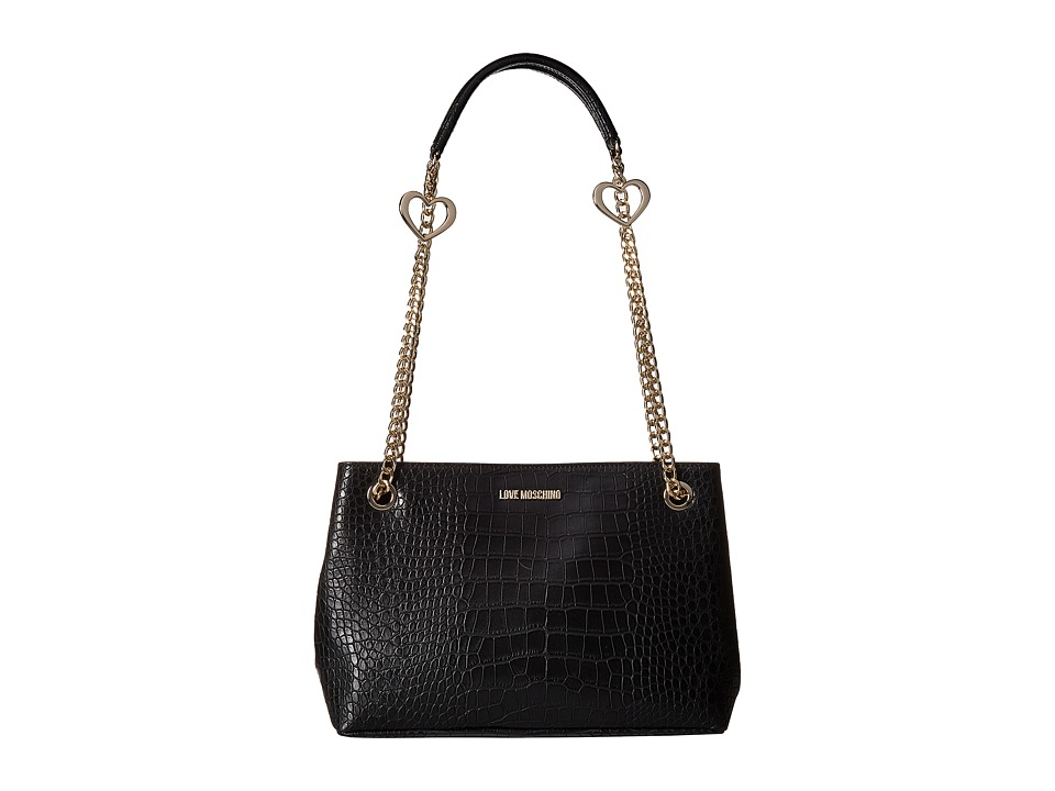 LOVE Moschino - Crossbody Pu Tote (Black) Tote Handbags