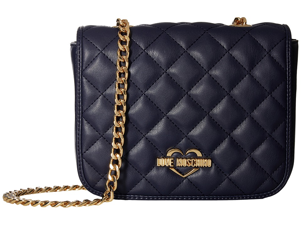 LOVE Moschino - Quilted Crossbody Chain Strap (Navy) Cross Body Handbags