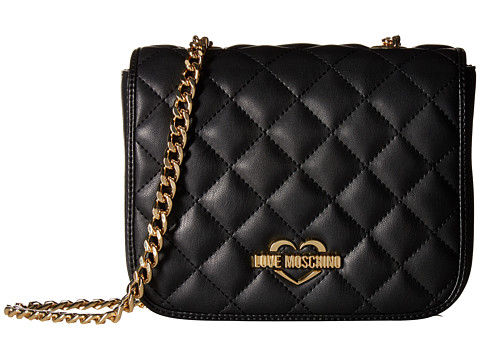 LOVE Moschino Quilted Crossbody Chain Strap - Black