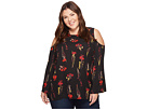 Vince Camuto Specialty Size Plus Size Bell Sleeve Elegant Botanical Cold-Shoulder Blouse