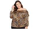 Vince Camuto Specialty Size Plus Size Long Sleeve Exotic Animal Ruffled Off Shoulder Blouse