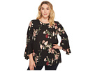 Vince Camuto Specialty Size Plus Size Flared Sleeve Windswept Bouquet Blouse