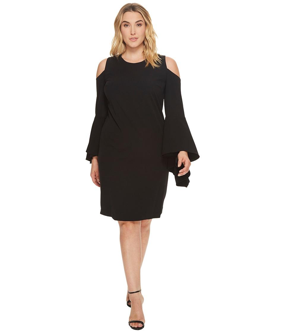 Vince Camuto Specialty Size Plus Size Handkerchief Sleeve Cold-Shoulder Dress (Rich Black) Women