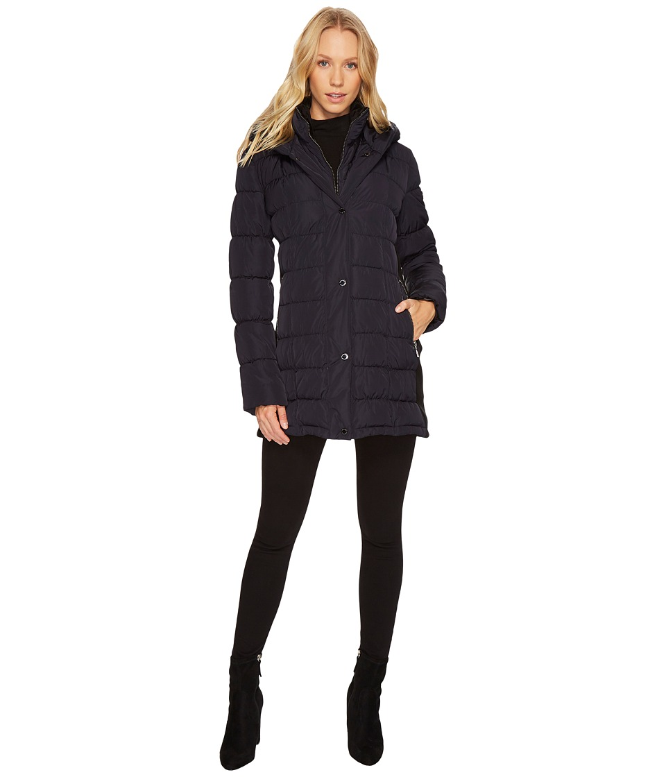 Calvin Klein - Hooded Puffer Mid-Length with Knit Side (Navy) Womens Coat