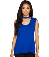 Vince Camuto Specialty Size - Petite Sleeveless Mock Choker Neck High-Low Hem Top