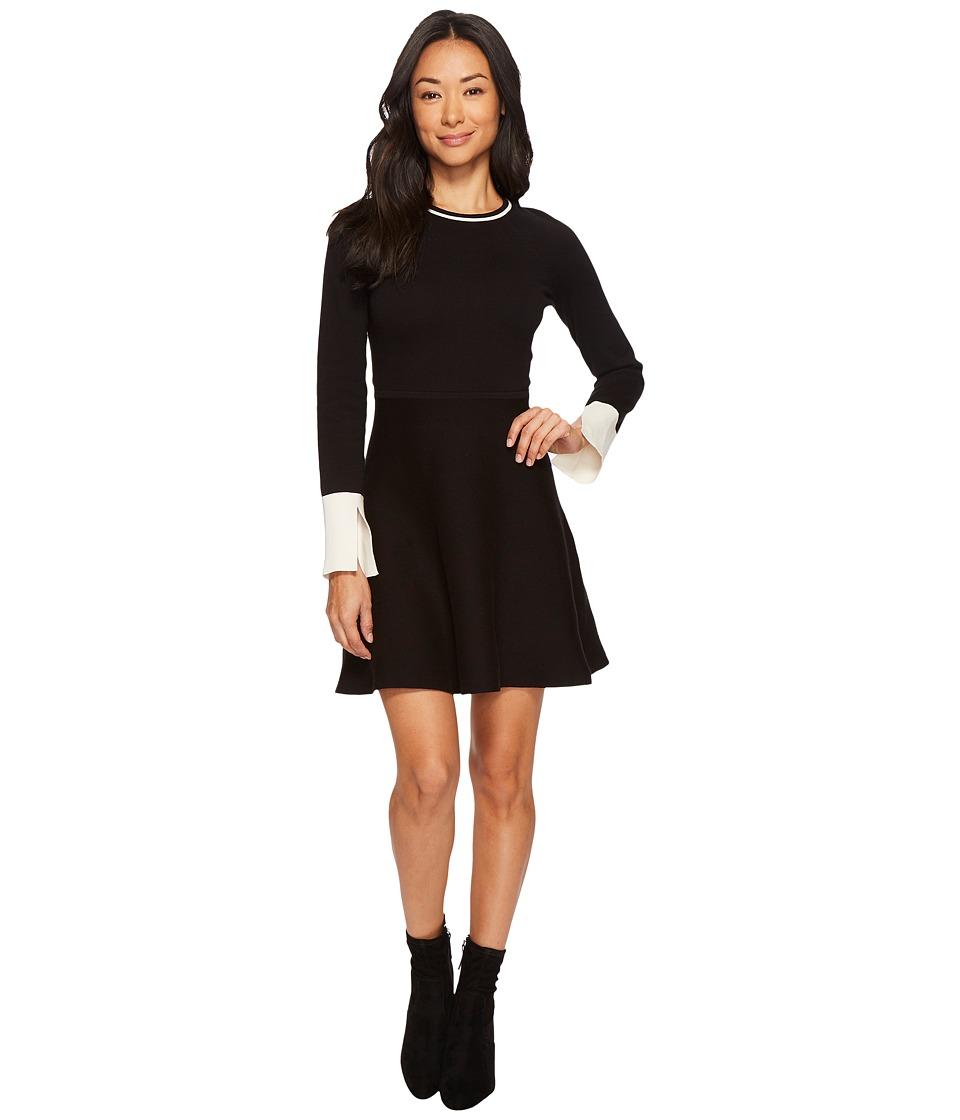 Vince Camuto Specialty Size Petite Long Sleeve Split Cuff Flared Sweater Dress (Rich Black) Women