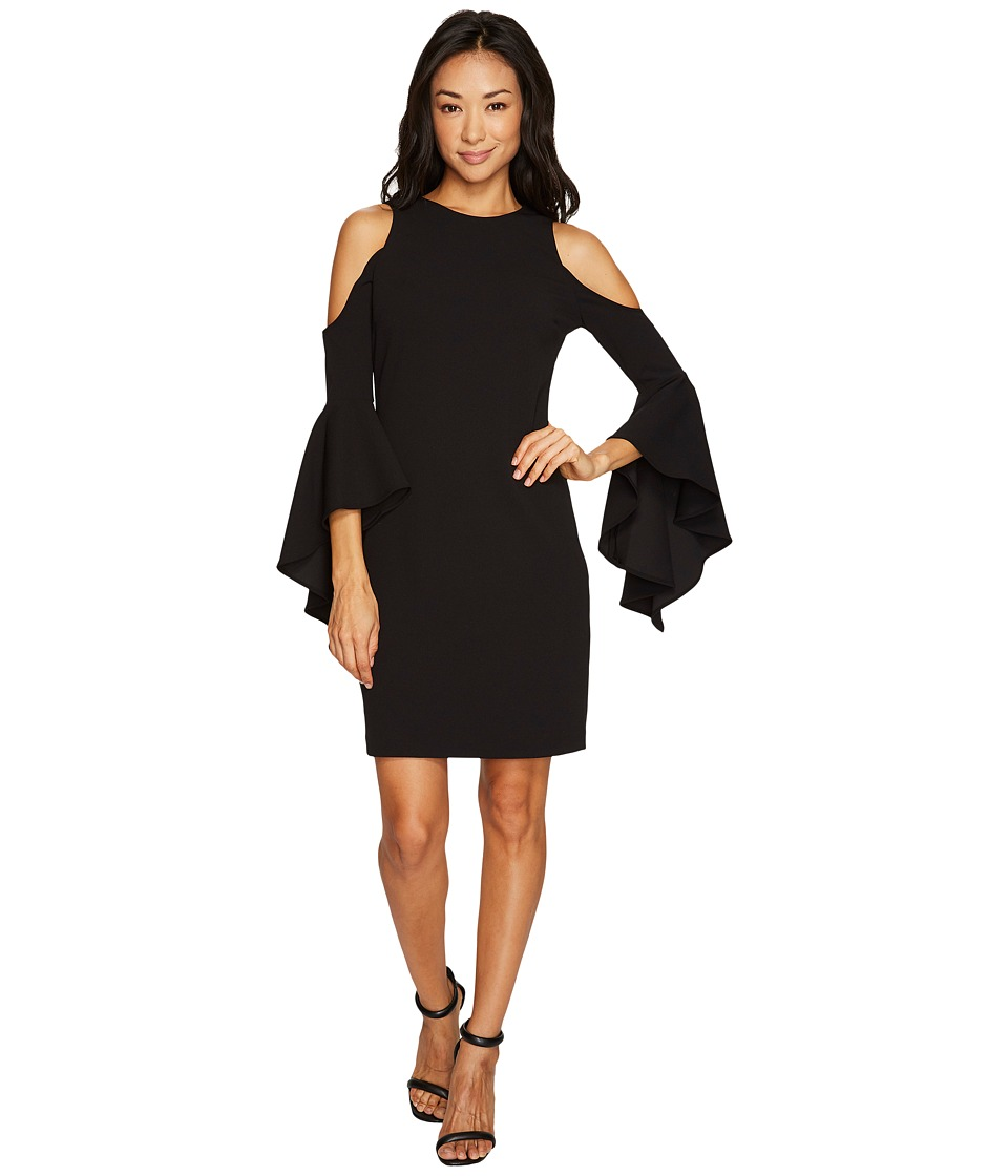 Vince Camuto Specialty Size Petite Handkerchief Sleeve Cold-Shoulder Dress (Rich Black) Women