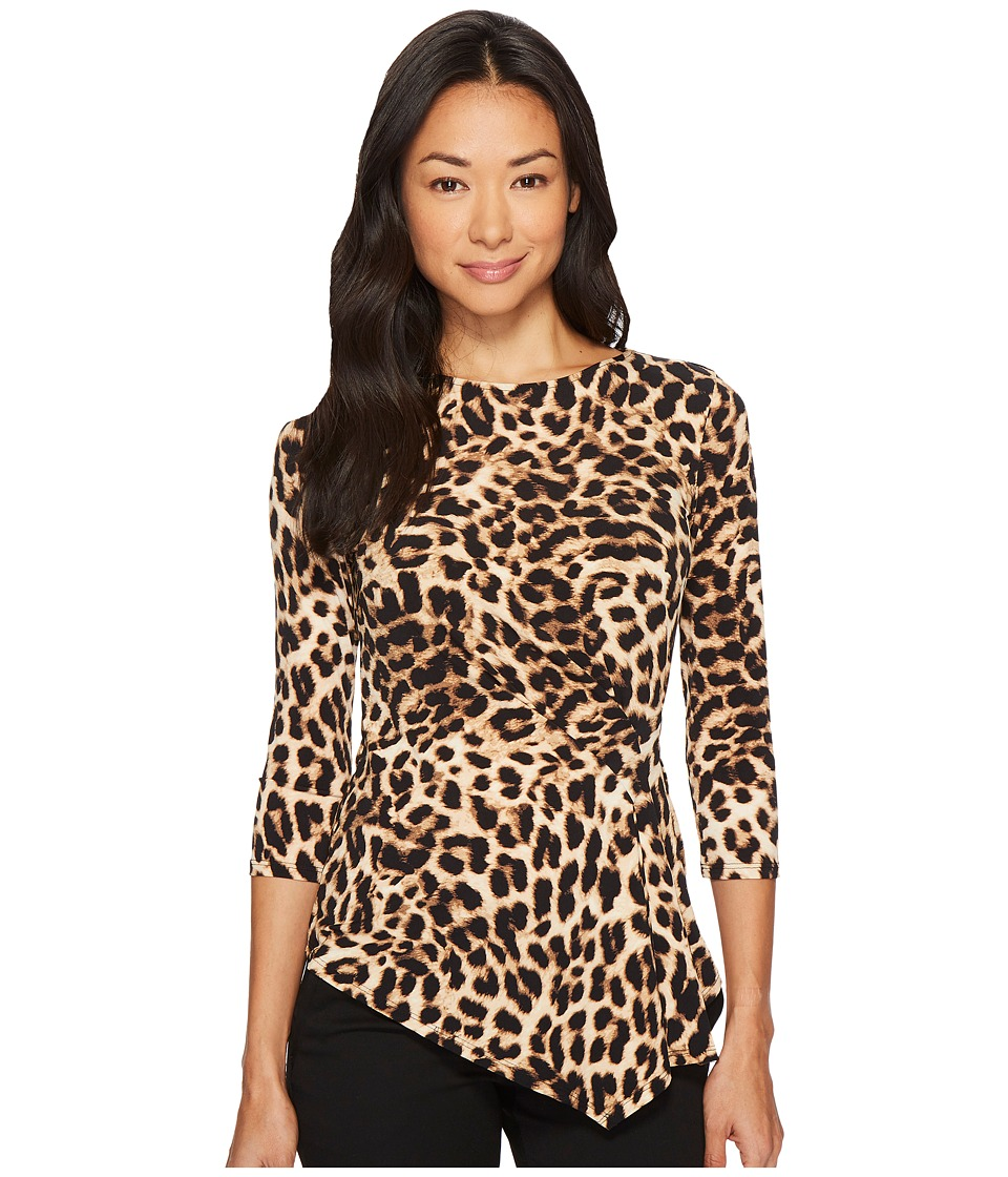 Vince Camuto Specialty Size - Petite 3/4 Sleeve Exotic Animal Side Ruched Top