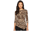Vince Camuto Specialty Size Petite 3/4 Sleeve Exotic Animal Side Ruched Top