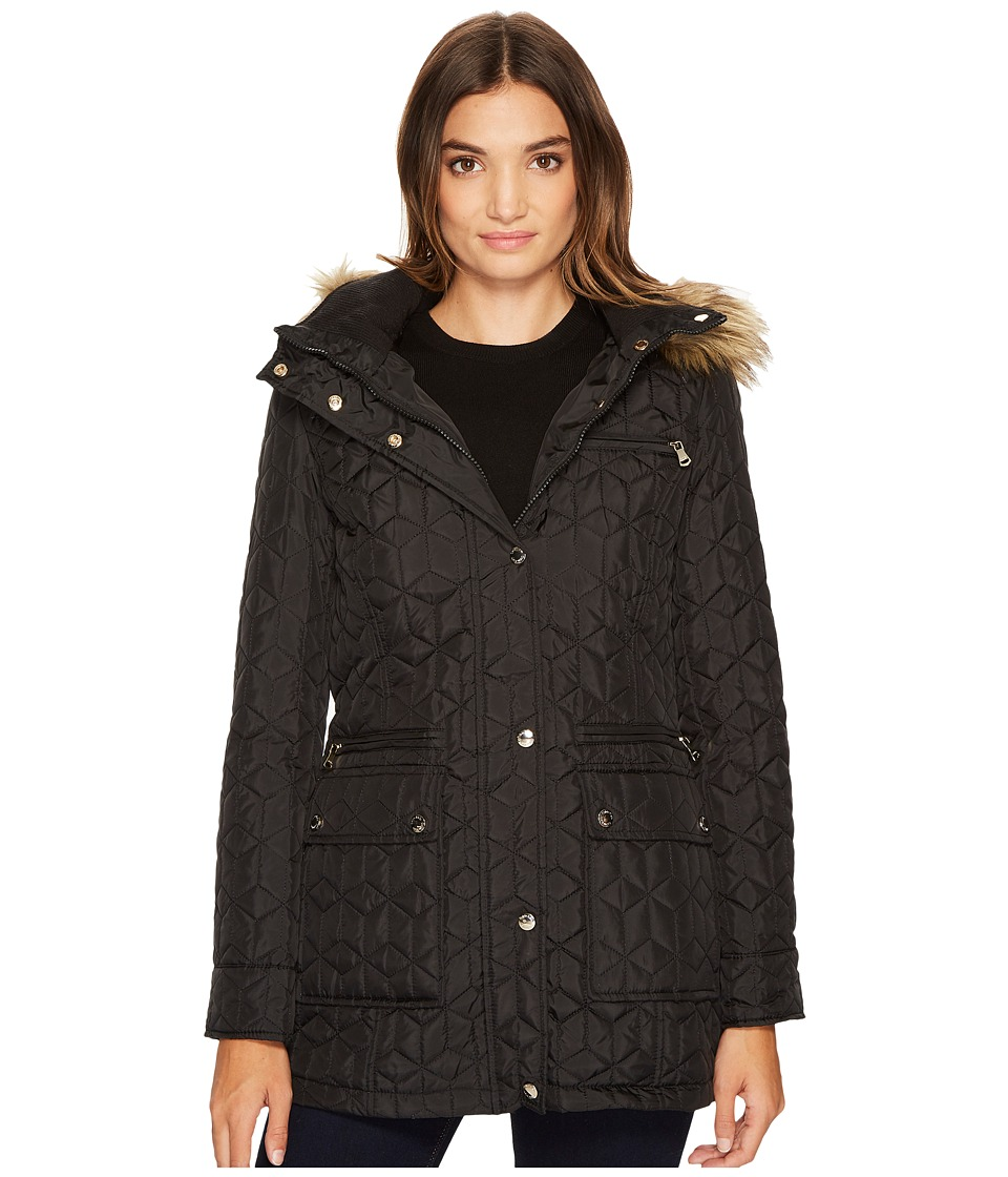 Calvin Klein Quilted Jacket with Fur Trimmed Hood (Black)...