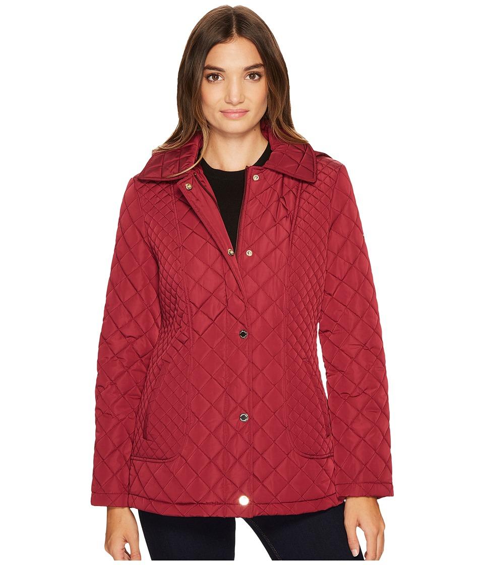 Calvin Klein Quilted Jacket with Hood (Beet) Women's Coat