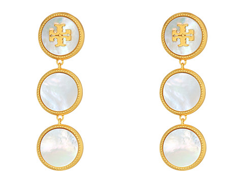 Tory Burch Semi-Precious Drop Earrings - Mother-of-Pearl/Vintage Gold