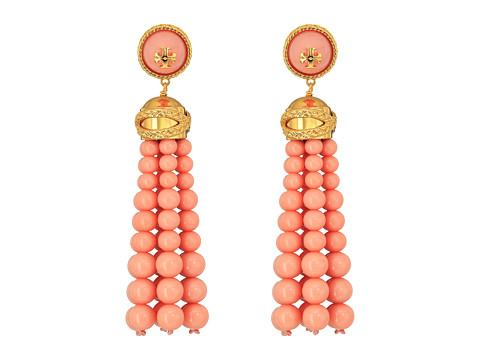 Tory Burch Beaded Tassel Earrings - Dark Cameo Pink/Tory Gold