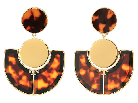 Tory Burch Art Deco Statement Earrings - Tortoise/Tory Gold