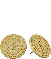 Tory Burch - Milgrain Logo Stud Earrings