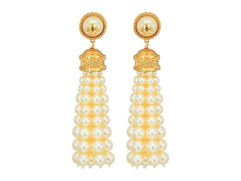 Tory Burch Beaded Tassel Earrings - Ivory Pearl/Tory Gold