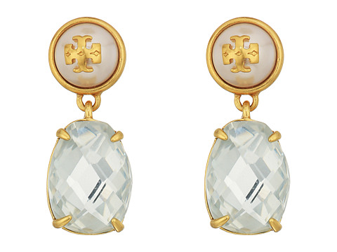 Tory Burch Epoxy Pearl Stone Earrings - Crystal/Vintage Gold