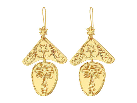Tory Burch Sculptural Face Earrings - Vintage Gold