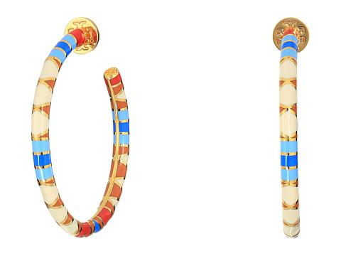 Tory Burch Geo Striped Hoop Earrings