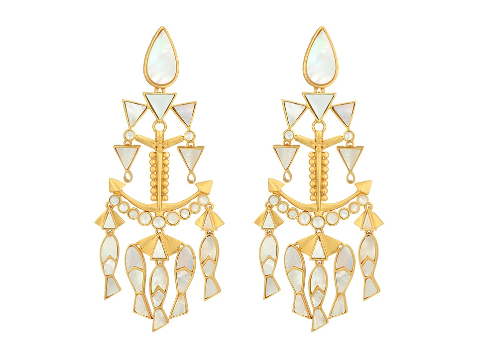 Tory Burch Fish Statement Earrings (Mother-of-Pearl/Vinta...