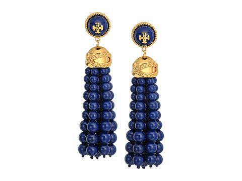 Tory Burch Beaded Tassel Earrings - Tory Navy/Tory Gold